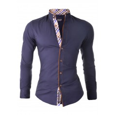 Stylish Shirt with Grandad Collar and Elbow Patches  Casual and Formal Shirts