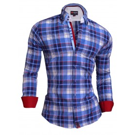 CLASSIC COLLAR CHECKER PATTERN SLIM FIT SHIRT  Casual and Formal Shirts