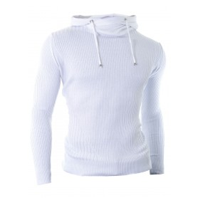 Hooded Sweater Vertical Ribbed Knit  Hoodies and Sweatshirts