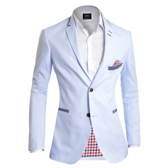 Light blue Stylish Summer Blazer Check Finish