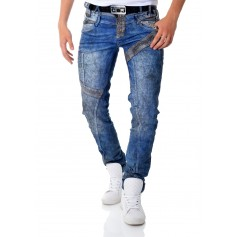 Cipo & Baxx Blue Jeans Vintage Patches Double Waist X2 Metal Chain  Jeans and Trousers
