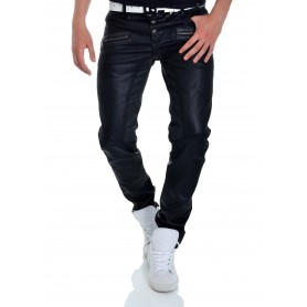 Cipo & Baxx Black Jeans Waxed Skull Metal Buttons Zipps Regular L34 L32 CD-320  Jeans and Trousers