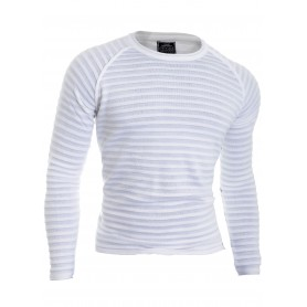 Men's knitted ribbed pullover fitness jumper crew neck
