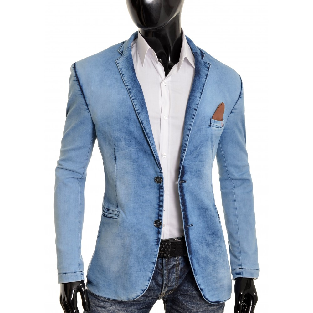 Mens Blue Denim Blazer Casual Look Slim Fit