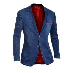 Denim Blazer with Ribbed Sleeves