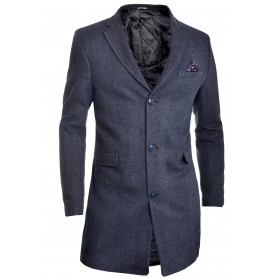 Mens Winter Over Coat Graphite 3/4 Long Jacket Paisley Herringbone Tweed Cashmere   Jackets and Coats